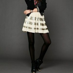 • FREE PEOPLE • ruffle & sequins skater skirt